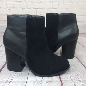8.5- Torrid mixed leather block heel ankle boots